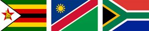 Zimbabwe Namibia South Africa Flags