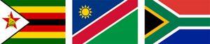 Zimbabwe Namibia South Africa Flags